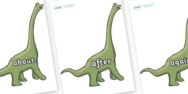 KS1 Keywords on Brachiosaurus - KS1, CLL, Communication language and literacy, Display, Key words, high frequency words, foundation stage literacy, DfES Letters and Sounds, Letters and Sounds, spelling