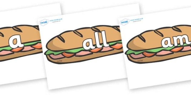 Foundation Stage 2 Keywords on Sandwiches - FS2, CLL, keywords, Communication language and literacy,  Display, Key words, high frequency words, foundation stage literacy, DfES Letters and Sounds, Letters and Sounds, spelling