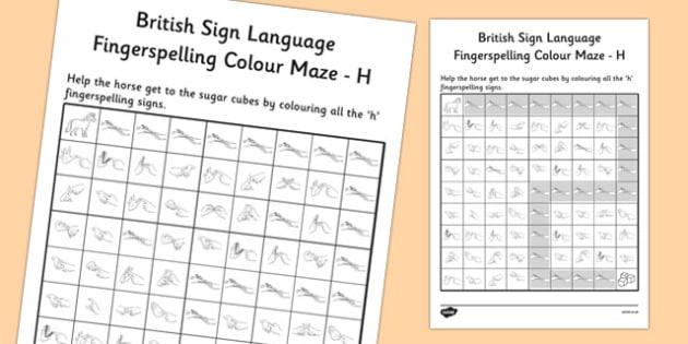 British Sign Language Left Handed Fingerspelling Colour Maze H