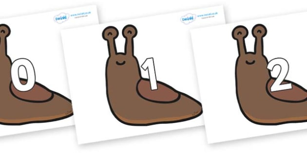 Numbers 0-100 on Slugs - 0-100, foundation stage numeracy, Number recognition, Number flashcards, counting, number frieze, Display numbers, number posters