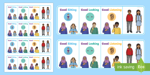 Good Sitting, Good Looking, Good Listening BSL Desk Prompt - BSL Resources, British Sign Language, Sign Support, Deaf Awareness, Hearing Impairment, Classroom ma