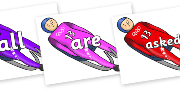 Tricky Words on Luge - Tricky words, DfES Letters and Sounds, Letters and sounds, display, words