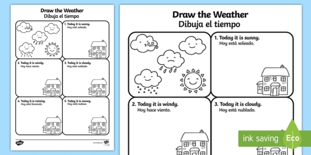 draw the weather worksheet worksheet english spanish draw the weather. Black Bedroom Furniture Sets. Home Design Ideas