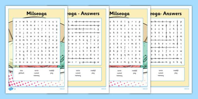 Bia Word Search Milseoga - irish, gaeilge, bia, food, word search, activity, food types, vocabulary