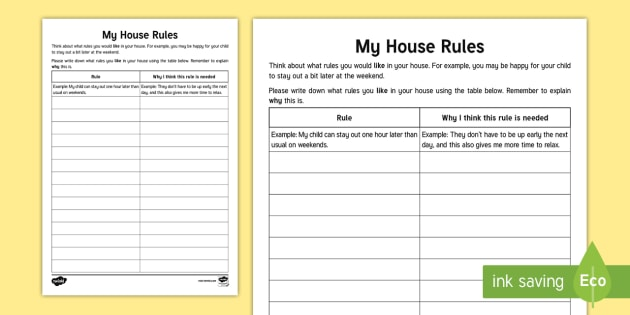 What house rules would you like parentcarer worksheet what house rules would you like parentcarer worksheet activity sheet relationships ibookread PDF