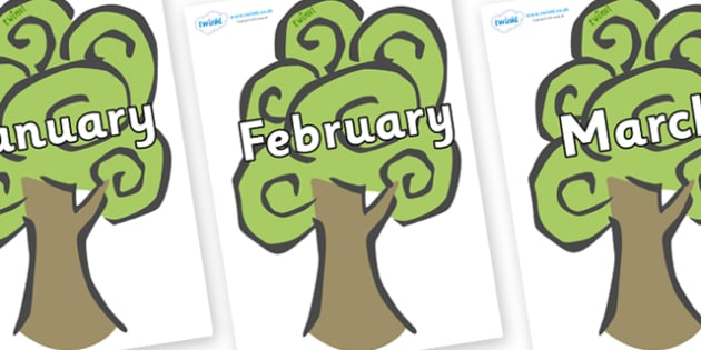 Months of the Year on Trees - Months of the Year, Months poster, Months display, display, poster, frieze, Months, month, January, February, March, April, May, June, July, August, September