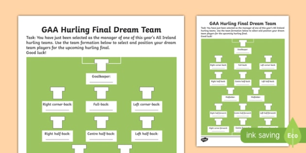 G.A.A. Hurling Final Dream Team Activity Sheet - Gaillimh, Gaillimhe, Port Láirge, ROI, Ireland, All Ireland, players, selection, formation, Irish, worksheet