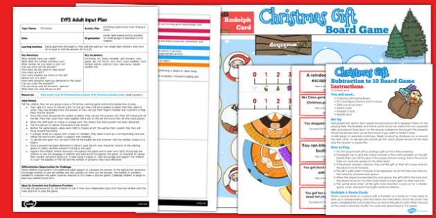 Christmas Subtraction From 10 Board Game EYFS Adult Input Plan and Resource Pack
