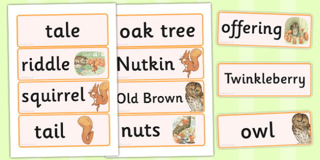 The Tale of Squirrel Nutkin Word Cards - squirrel nutkin, word cards