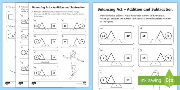 ks1 balancing act addition and subtraction worksheet worksheet balancing. Black Bedroom Furniture Sets. Home Design Ideas