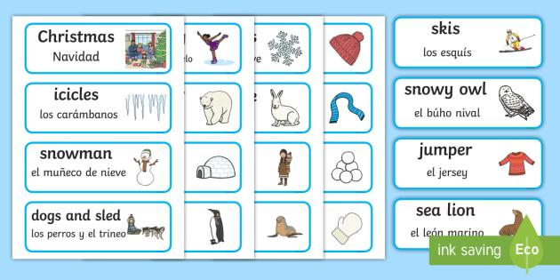 winter word cards winter winter words word