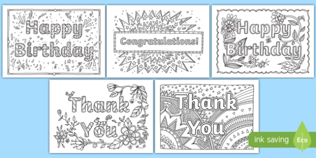Free Printable Birthday Coloring Cards Cards, Create and Print ... | 315x630