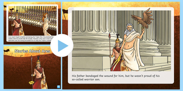 A Story About Ares PowerPoint - Request KS2, Trojan War, Aphrodite, Diomedes, Zeus, god, Ares, war, Greek, greek gods