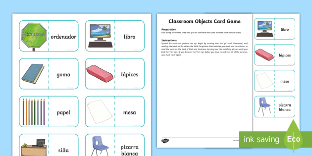 classroom objects card game english spanish spanish games spanish. Black Bedroom Furniture Sets. Home Design Ideas