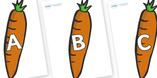 A-Z Alphabet on Carrots - A-Z, A4, display, Alphabet frieze, Display letters, Letter posters, A-Z letters, Alphabet flashcards
