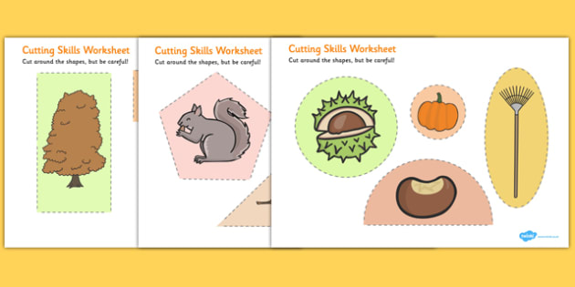Autumn Themed Cutting Skills Worksheet - fine motor skill, season