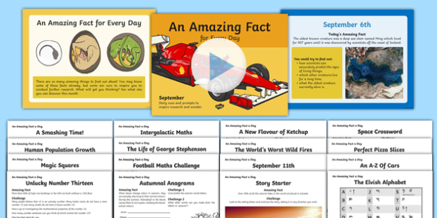 September Amazing Fact Of The Day PowerPoint and Worksheet / Activity Sheets Pack  , worksheet