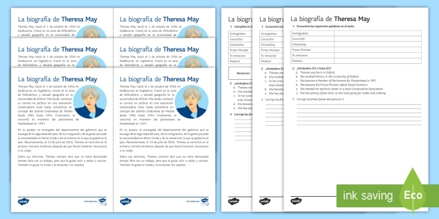 Theresa May Biography Differentiated Reading Comprehension Activity Spanish - elections, general, theresa, may, politics, politicians, reading, comprehension, differentiated, wor