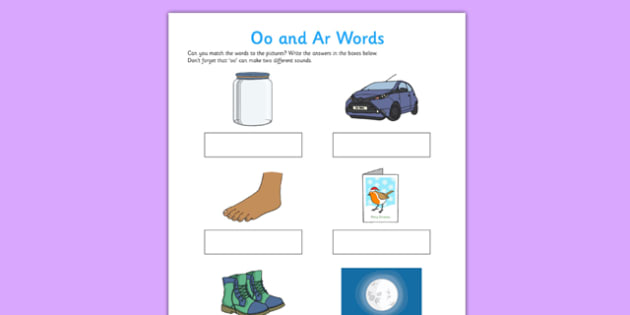 oo' and 'ar' Sounds Matching Activity Worksheet - 'oo', 'ar', sounds, matching, activity, worksheet, match, letters and sounds