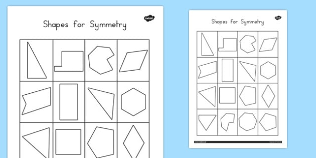 Shapes for Symmetry Worksheet / Activity Sheet - australia