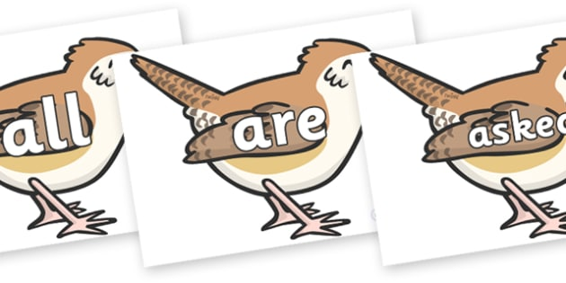 Tricky Words on Wrens - Tricky words, DfES Letters and Sounds, Letters and sounds, display, words