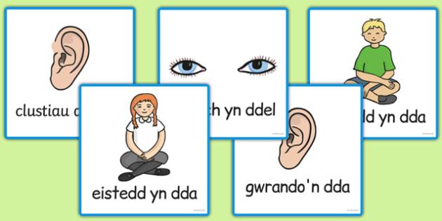 Cardiau Gwrando'n Astud - cymreag, welsh, good listening, cards, good, listening, communication, Diwrnod cyntaf