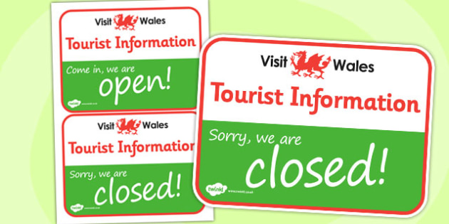 Wales Tourist Information Role Play Open And Closed Signs - label