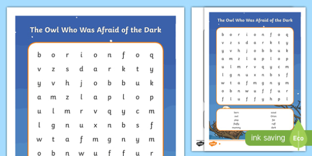 The Owl Who Was Afraid of the Dark Differentiated Word Search-Scottish