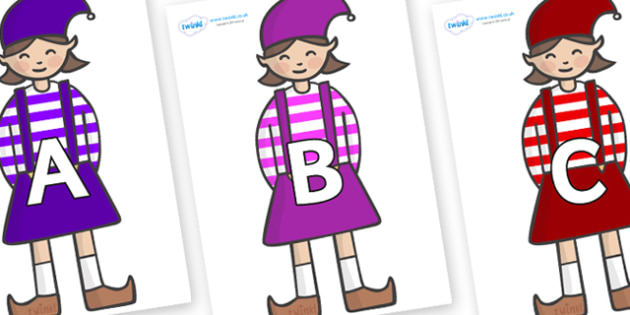 A-Z Alphabet on Elf (Girl) - A-Z, A4, display, Alphabet frieze, Display letters, Letter posters, A-Z letters, Alphabet flashcards