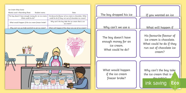 Ice Cream Shop Scene Blanks Level 4 Questions - receptive language, expressive language, verbal reasoning, language delay, language disorder, comprehension, autism