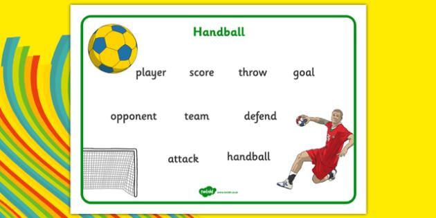 Rio 2016 Olympics Handball Word Mat - rio 2016, 2016 olympics, rio olympics, word mat