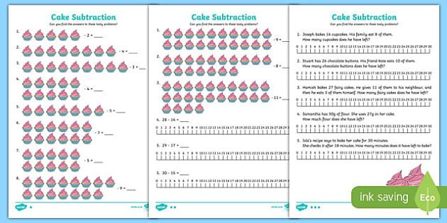 Cake Subtraction Differentiated Worksheet / Activity Sheet Pack, worksheet