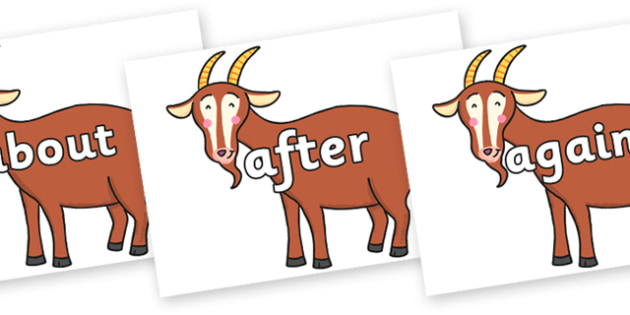 KS1 Keywords on Hullabaloo Goat to Support Teaching on Farmyard Hullabaloo - KS1, CLL, Communication language and literacy, Display, Key words, high frequency words, foundation stage literacy, DfES Letters and Sounds, Letters and Sounds, spelling