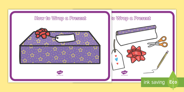 How to Wrap a Present Display Posters - how to wrap a present, present, presents, wrapping, how to, display, posters, sign, poster, wrap , instruction