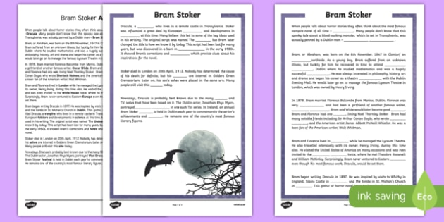 Bram Stoker 5th and 6th Class Higher Ability Cloze  Activity Sheet-Irish, worksheet
