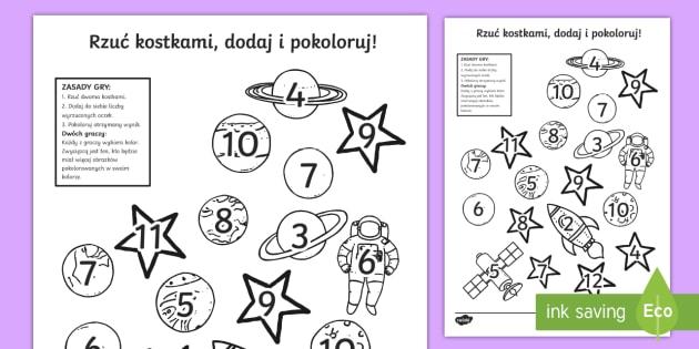 Karta Rzuć kostkami dodaj i pokoloruj Kosmos - kosmos, ufo, przedstrzeń, kosmiczna, planety, asteroidy, słońce, mars, księżyc, ziemia, matemat