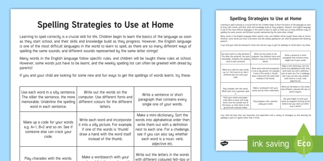 Useful Strategies for Learning Spellings Parent and Carer Information Sheet - parents, advice, schools, spellings, homework, spelling strategies, dyslexia, spelling games, spelli