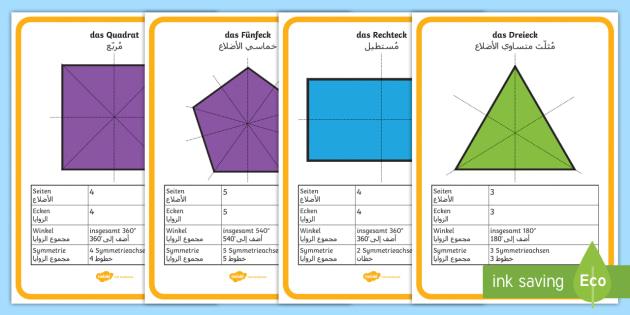 Deutsch-Arabische Eigenschaften und Symmetrien von 2D Formen