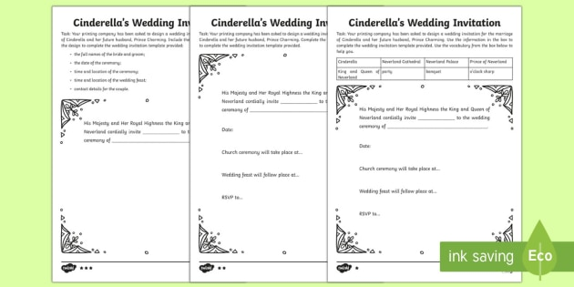 Cinderella Wedding Invitation Writing Template invitation