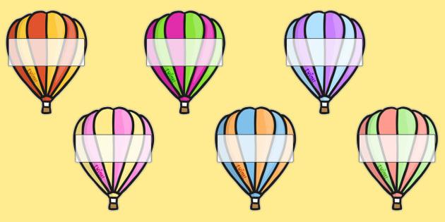 Editable A4 Hot Air Balloons (Stripes) - Hot air balloon, balloon, display, poster, editable, label, template, birthday display