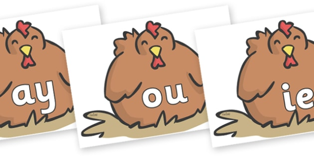 Phase 5 Phonemes on Chickens - Phonemes, phoneme, Phase 5, Phase five, Foundation, Literacy, Letters and Sounds, DfES, display