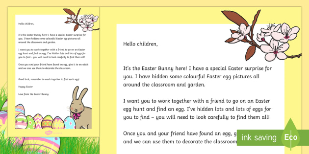 Letter From The Easter Bunny  Eyfs Early Years Easter Easter