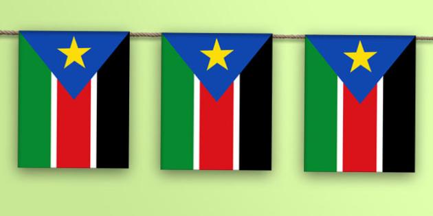 South Sudan Flag Bunting - world, geography, flags, Africa, olympics, world, ks2