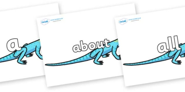 100 High Frequency Words on Lizards - High frequency words, hfw, DfES Letters and Sounds, Letters and Sounds, display words