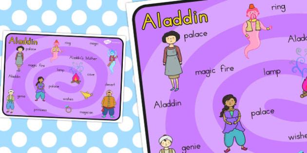 Aladdin Word Mat - Words, literacy, writing, mats, traditional