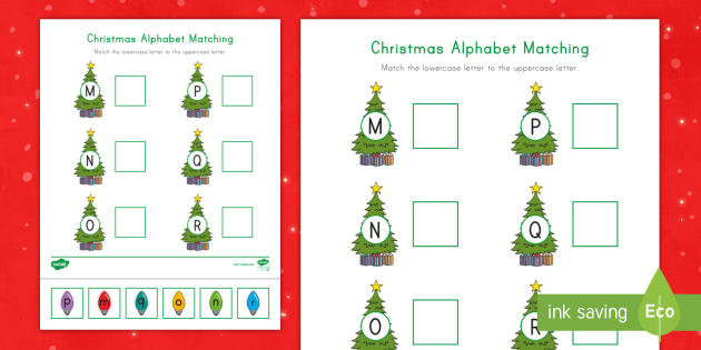 Christmas Alphabet Matching Activity: Letters M-R