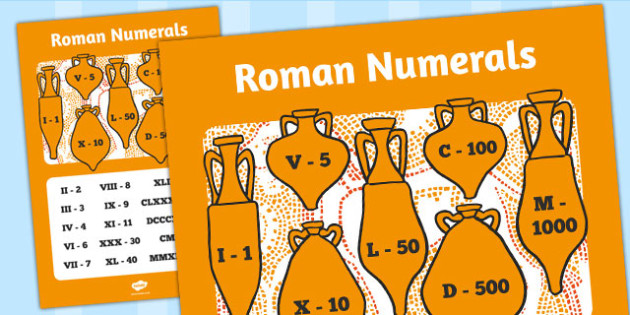 Large Roman Numerals Poster - roman, numerals, display, poster