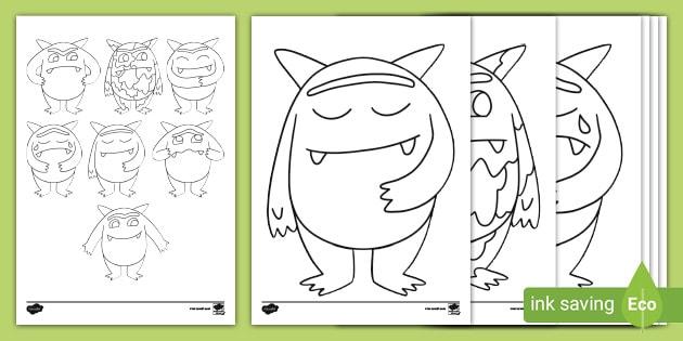 The Feelings Monster Colouring Sheets Teacher Made