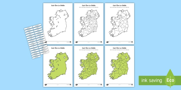 Cuir Éire le Chéile:   Na Contaetha Worksheet / Activity Sheets - Requests - ROI, Ireland, Éire, counties, map of Ireland, Geography  ,Irish, worksheets
