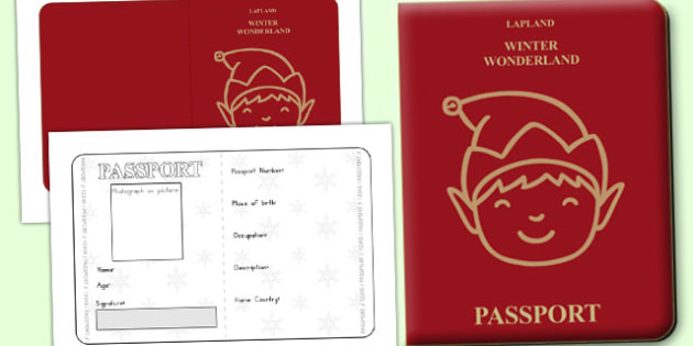 Elf Passport Writing Frame - australia, christmas, elf, passport